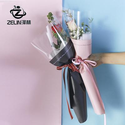 情人节单只玫瑰花包装袋女神单支花袋opp塑料单支鲜花花束包装纸