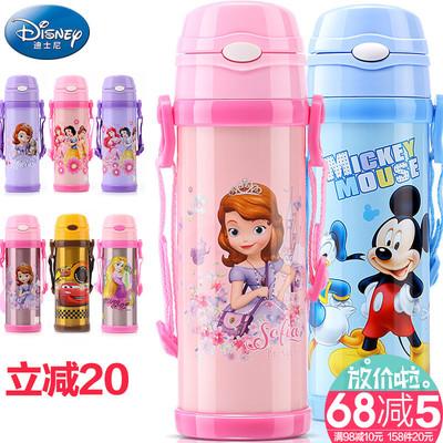 迪士尼儿童吸管保温杯防漏米奇不锈钢杯子小孩保温壶便携宝宝水杯