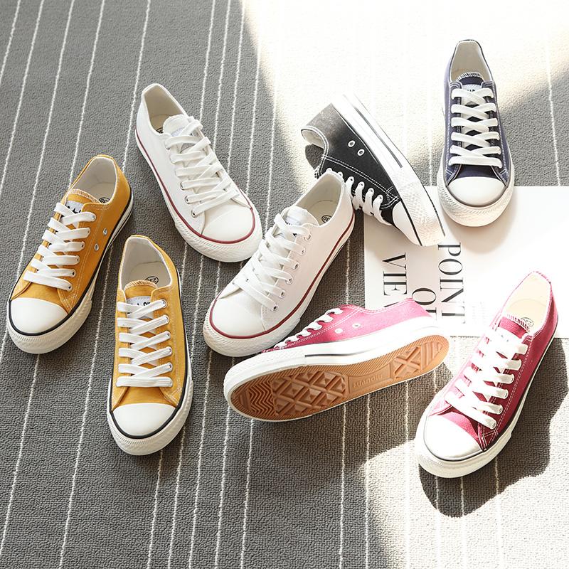环球帆布鞋女百搭小白球鞋学生板鞋2019潮鞋新款女鞋韩版春季布鞋