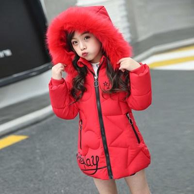 冬季新款女童棉衣中长款儿童棉服宝宝加厚棉袄冬天女孩外套洋气