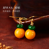 HWSA Aihua Shang Zhao Wei endorsement natural old beeswax earrings female earrings earrings with certificate