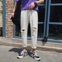 夏季新款潮流破洞牛仔裤男生韩版百搭宽松直筒九分裤牛仔裤