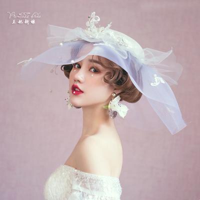 纯手工蕾丝麻纱半透明纱帽韩式礼帽头饰朦胧神秘新娘造型复古礼帽