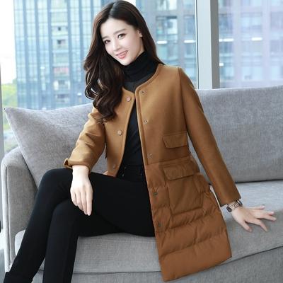 2017冬季新款棉衣女中长款毛呢拼接冬装加棉外套韩版气质显瘦棉服
