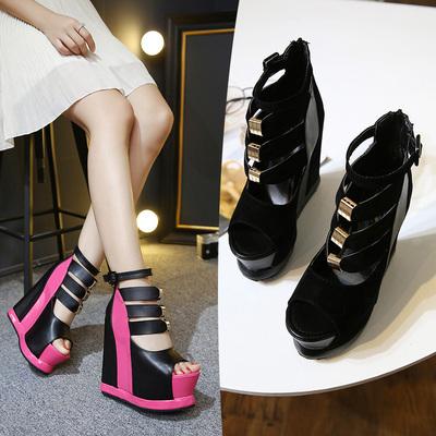 新品凉鞋女士2016夏季隐形厚底韩版内增高女鞋镂空超高跟鱼嘴坡跟