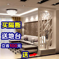 Craftsman modern PVC hollow screen partitions living room wood-plastic plate lattice flower pass flower entrance plate background wall