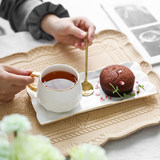 Ceramic coffee cup dish set Nordic minimalist gold coffee cup small luxury afternoon cup with dim sum tray