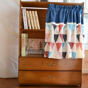 简约免打孔安装窗帘成品小短窗户帘布厨房衣柜书架子防尘门帘蓝色