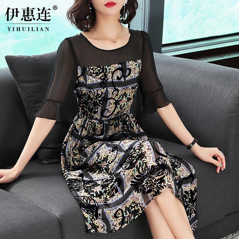圆领植绒连衣裙