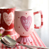 European ceramic cup creative milk cup breakfast cup couple's cute coffee cup high-foot cup cup