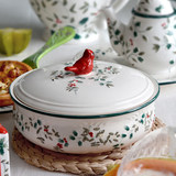 North American Holly Berry European Embossed Ceramic Tableware Soup Pot Creative Household Large Soup Bowl with Cover