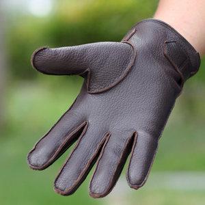 薇薇爱琪 真皮手套男士进口鹿皮手套冬季保暖加绒加厚开车骑行
