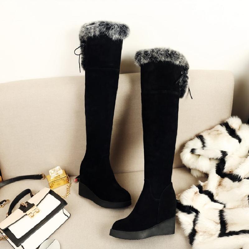磨砂牛皮过膝长靴女高跟全皮侧拉链坡跟骑士靴兔毛内增高加绒女靴