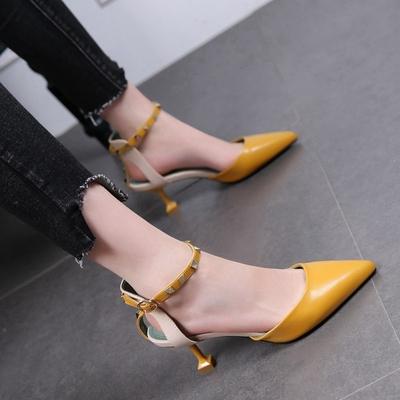 时尚铆钉绑带中空猫跟单鞋女细跟高跟鞋春夏新款尖头女鞋包头凉鞋