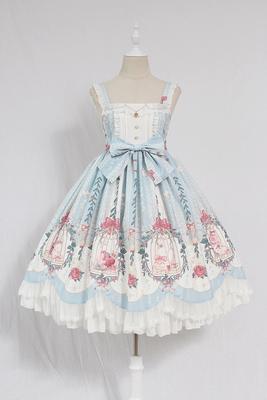 Alice girl原创新款 Lolita笼中梦珠链吊坠波浪荷叶边 jsk连衣裙
