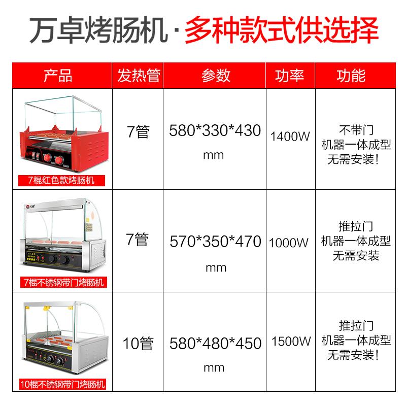 万卓烤肠机商用烤香肠机全自动小型迷你台湾带门火腿肠热狗机家用