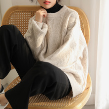 Lozi Homemade New Korean Edition Warm, Loose, Lazy, Wind, Round-necked Sweater, Female Literature and Art Model Knitted Sweater in Autumn and Winter