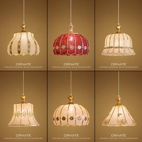 单头创意个性欧式吊灯现代简约温馨卧室床头餐厅玄关过道金色吊灯