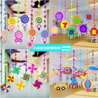 Spring kindergarten classroom corridor layout wall decoration creative mall hanging ornaments hanging wicker swallow pendant