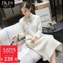汉服冬装女改良版旗袍中长款中式唐装民国风复古连衣裙中国风女装