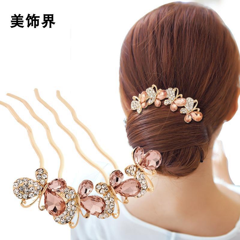 买二送一 蝴蝶结发饰韩版发夹发卡丸子头盘发器水钻插梳发梳发簪