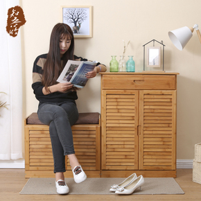 知吾竹实木鞋柜简易鞋柜多层竹鞋架实简约现代收纳客厅玄关门厅柜