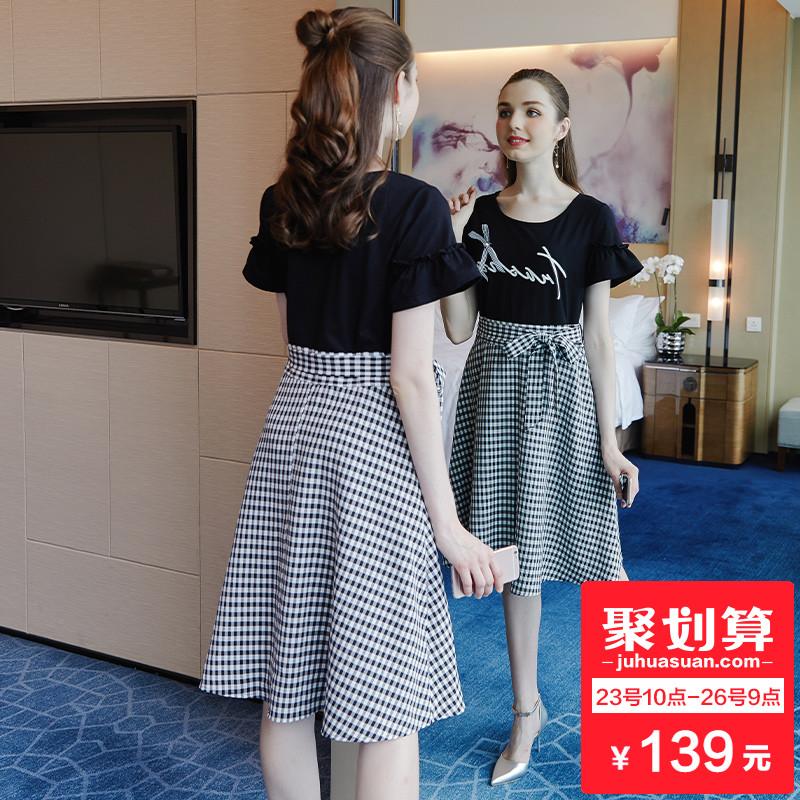 奢姿大码女装胖妹妹拼接格子连衣裙2018夏新款200斤胖mm收腰裙子