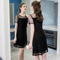 奢姿2018夏装新款大码女装网纱肩袖蕾丝连衣裙200斤胖MM显瘦裙子