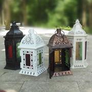 欧式家居复古铁艺玻璃防风落地风灯蜡烛烛台马灯生日礼物婚庆摆件
