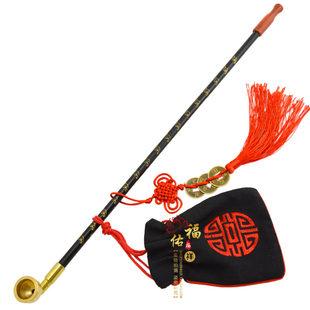 老式手工烟斗 旱烟袋烟袋锅 老人加长实木旱烟杆 中国传统烟具