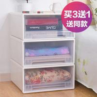 买3送1百露可叠加收纳柜抽屉式透明柜子收纳箱衣物整理箱宝宝衣柜