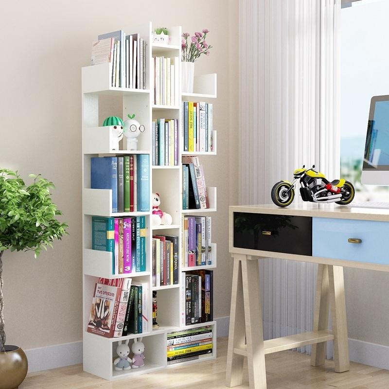 书架简易落地简约现代客厅树形置物架儿童实木创意桌上小书柜收纳