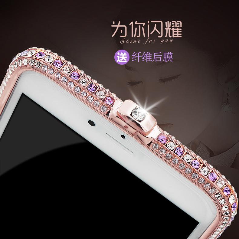 新款iphone6plus手机壳水钻苹果6s镶钻7plus金属边框5s手机套女i7