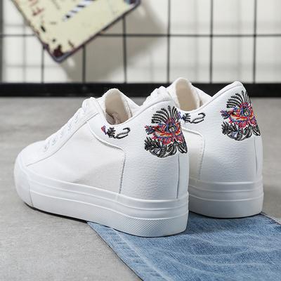 女款小白鞋女2018新款百搭韩版学生秋季厚底休闲内增高帆布鞋子女