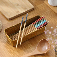 1 pair of natural environmentally friendly printed wooden chopsticks without paint and wax-free retro household non-slip kitchen tableware family
