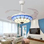 蒂凡尼隐形风扇吊灯客厅餐厅卧室儿童房吊扇灯地中海简约带灯吊扇