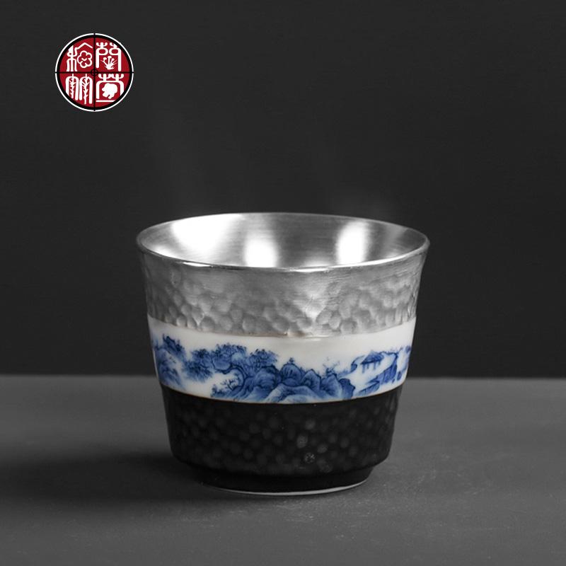 银杯子内胆主人杯单杯大号个性纯手工陶瓷单个功夫鎏银999小茶杯图片