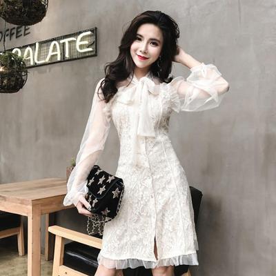 韩版2018春季新款 时尚气质甜美网纱拼接蕾丝收腰显瘦连衣裙秋装