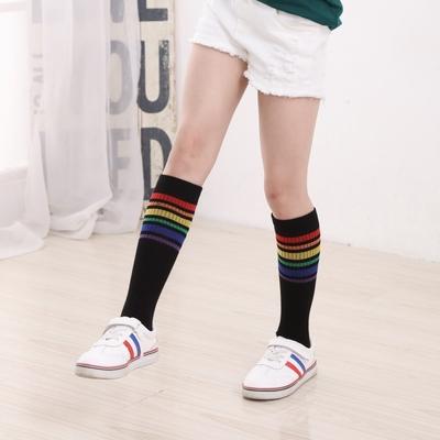 韩版春秋夏女童纯棉中筒袜儿童百搭半筒袜子卡通长筒袜高筒过膝袜