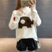 2017新款宽松套头针织打底韩版潮拼色可爱秋冬装半高领百搭女毛衣