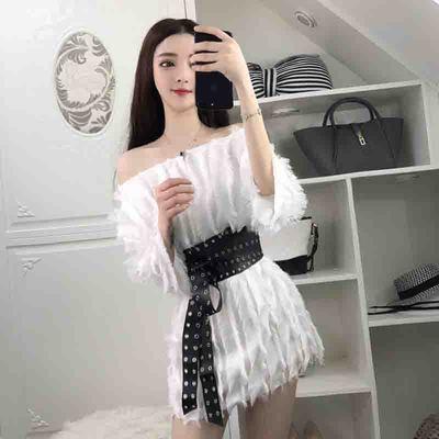 时尚女装修身新款2018秋冬毛绒V领长袖气质时尚连衣裙赠pu皮腰带