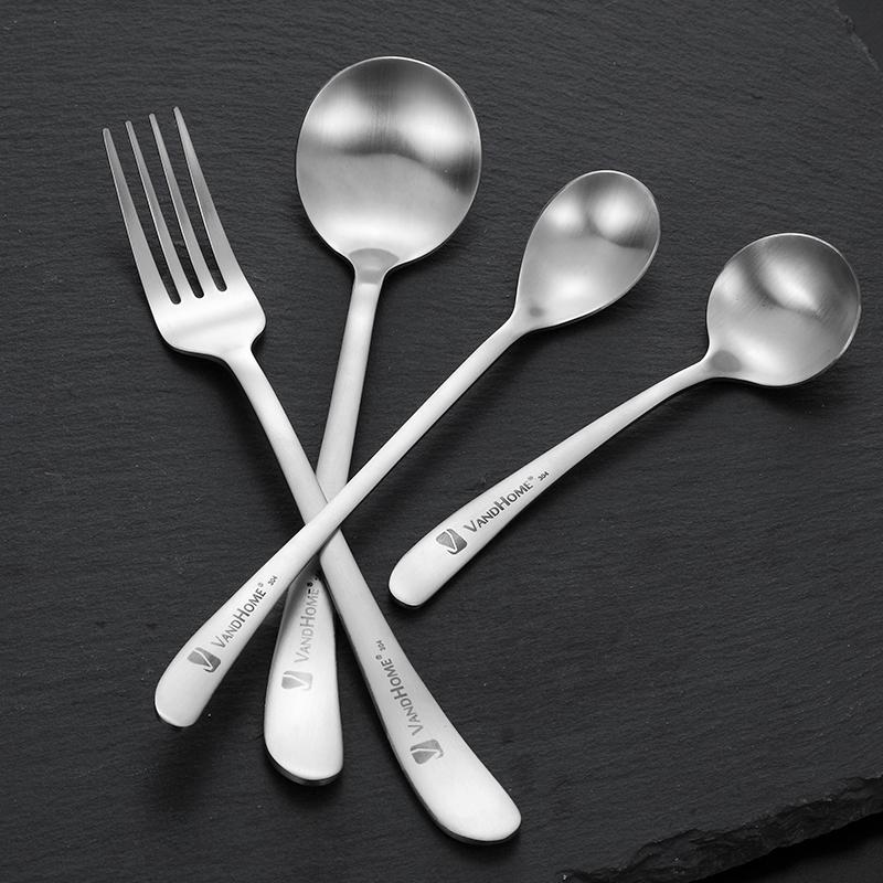 304不锈钢勺子叉子创意可爱小汤勺长柄咖啡甜品圆勺子搅拌勺餐叉