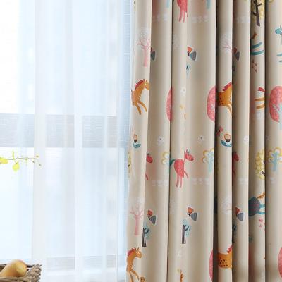 美式卡通可愛兒童房窗簾男孩全遮光女孩兒童窗簾布料臥室成品落地哪里便宜