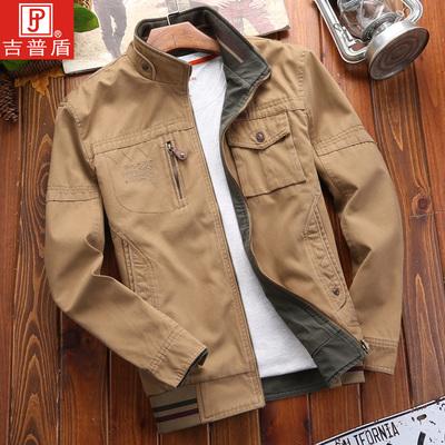 NIAN JEEP秋季新款男装双面穿纯棉中年商务休闲夹克男士外套上衣
