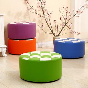 小皮凳子家用时尚现代创意沙发凳圆板凳简约矮凳实木成人懒人脚凳