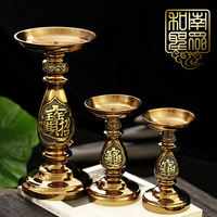 Buddha Hall for Buddha Pure Copper Butter Lamp Base Lucky Fortune Fortune God Guan Guan Candle Holder Lotus Light Stand 2