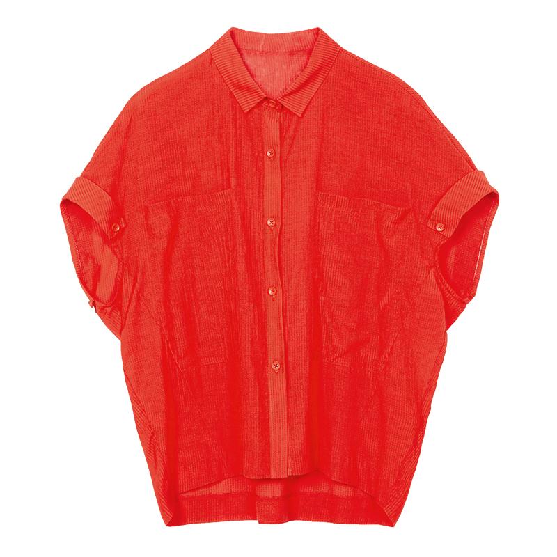 邑品文艺衬衫女士单排扣2018夏装新品休闲宽松蝙蝠袖翻领衬衣红色
