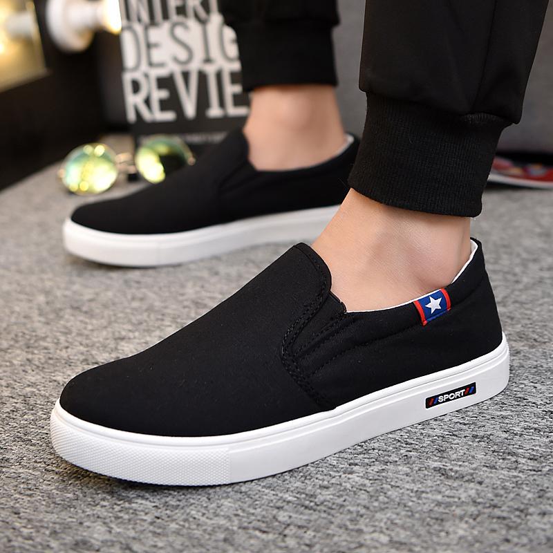 男鞋夏季潮鞋子老北京布鞋男士休闲鞋青年一脚蹬懒人板鞋帆布鞋男