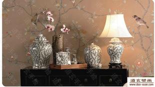 手绘丝绸墙纸 真丝壁画 天然蚕丝 手绘壁纸 墙画 工笔画