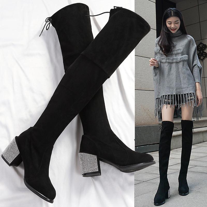洛百丽专柜正品幻水过膝长靴女2018秋冬季新款韩版马靴子粗高跟百